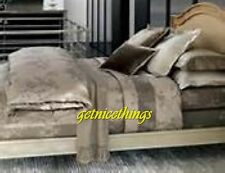 Yves Delorme Flat Iron Duvet Cover Reversible Silver Grey Cotton Damask Floral