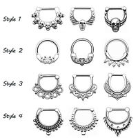 1PC 316L Stainless Steel NOSE SEPTUM CLICKER Nose Ring Hoop Ear Piercing 16G/14G