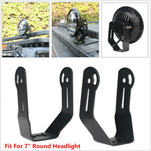Roof Bar 7'' Round Headlight Bracket Mount Spotlight LED WorkLight  Clamp Holder