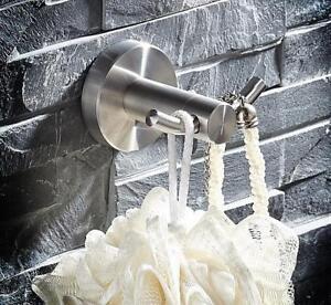 Bathroom Towel Coat Hooks Dual Robe Hook Hanger,Stainless Steel Brushed Nickel