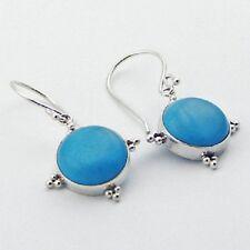 Silver earrings blue howlite gemstone hook 35mm drop 925 sterling round fashion