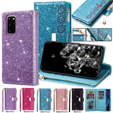 For Samsung S20 S10 Note 10 Plus A91 A81 Glitter Leather Case Card Wallet Cover