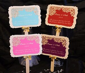 Personalised Hand Fan Wedding Favour Glitter Indian Sikh Muslim Gift