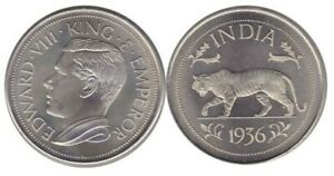India: 1936 King Edward VIII, cupro-nickel, tiger retrospective crown