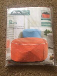 Round Footstool Rest Stool Pouffe Living Room Inflatable Livarno Living Orange