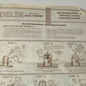 Delta Single Handle Ball Faucet Maintenance & Installation Instructions 1970s