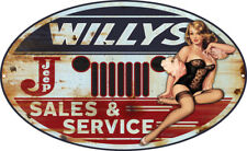 Jeep Willys Pin Up Girl Metal Sign By Steve McDonald 11x18 Oval RVG286-O18