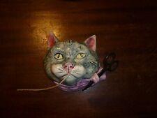 English String Holder w/ scissors. Gray Tabby w/ Lavender Ribbon. Hand Painted