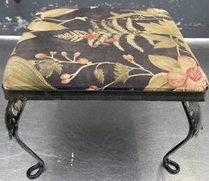 Vintage Wrought Iron Padded FOOTSTOOL 12x12