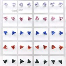 Zirconia Earrings Wholesale 36 Pairs/lot 9 Color 5mm Triangle Earring Studs