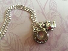 "NOVELTY TEATIME NECKLACE  TEACUP & TEAPOT CHARM 18"" silver plated chain gift bag"
