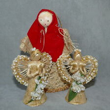 Christmas Ornament Country Corn Husk Decoration Straw Angel Mother Mary Lot of 3