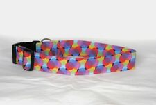 "1.5"" Large Snap Dog Collar Big Colorful Circles - Reinforced Cotton"