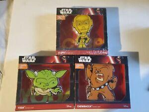 New 3D FX Star Wars Yoda Chewbacca C-3PO 3D Deco Mini-Sized LED Wall Light Lot