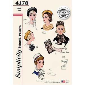 S4178 Sewing Pattern Hats Pillbox Reversible Beret Scarves Bag VTG 1960s
