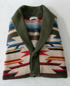 Mango Man Aztec Southwestern Shawl Collar Knit Cardigan - Size Medium