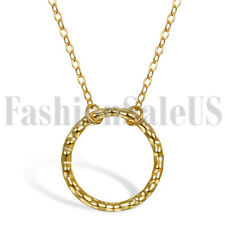 Women Girl Sterling Silver Gold Tone Hammered Open Circle Pendant Necklace Chain