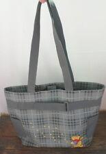 Disney Tote Bag Diaper Winnie Pooh Gray Pvc Shoulder Handbag Bumblebees Tartan