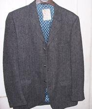 HARRIS TWEED Men's Blazer Jacket Gray Wool Sz 40 R Herringbone Sport Coat VTG