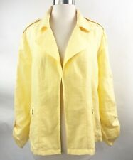 Chicos XL Size 4 Bright Yellow Open Front Jacket Blazer Roll Tab Sleeve Linen