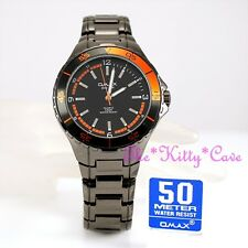 OMAX 5atm 5Bar Waterproof Seiko Movt Gunmetal & Rose Gold Pl Sporty Watch DBA645