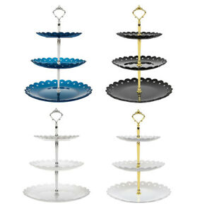 3-Tier Cupcake Stand 13.7inch Plastic Dessert Tower Serving Tray for Wedding