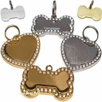 Engraved Pet Tags Dog / Cat  ID Diamontee Bling Bone/Heart Shaped FREE Engraving