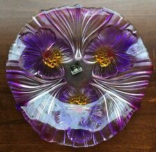 Mikasa Glass Amethyst Germany Hibiscus Candy Dish/Tray