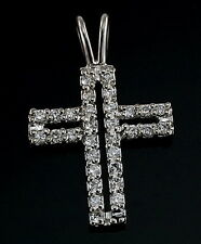 14K White Gold Cross Diamond Charm Pendant  22 mm .30 ctw New Sparkly