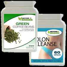 60 Green Coffee Bean Extract & 60 Detox Colon Cleanse pérdida De Peso Dieta Pastillas