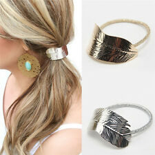 2PCS Gold&Silver Metal Leaf Lady Hair Band Rope Headband Elastic Ponytail Holder