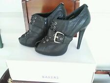 Bakers Women Solid Black Leather Open Toe Bootie High Heel Medium (B,M) sz 7