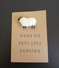 HANDMADE GREETING CARD HEY EWE MAKE ME FEEL LIKE DANCING REMOVABLE MAGNET SHEEP