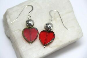 """Red Heart Shape Glass Beads .925 Sterling Silver Earrings 1 1/2"""" Pewter Spacers"""