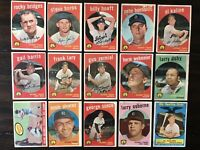 ⚾️1959 Topps Baseball Detroit Tigers Lot Of 15 Al Kaline HOF X 3⚾️