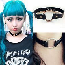 Goth Punk encantador Cuero Collor Remache Junta tórica Gargantilla Collar Collar 100173bk
