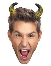 Adults Mens Womens Devil Demon Costume Accessory Short Bent Tan Horns Headband