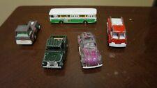 Lot Of 5 Cars-4 Tootsie Toys-Stinging Bug Jeep- 1 Majorette Autobus France Used