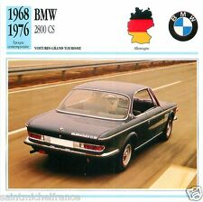 BMW 2800 CS 1968 1976 CAR VOITURE GERMANY ALLEMAGNE CARTE CARD FICHE