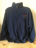 Team USA Olympic Size XXL Blue Full Zip Fleece Jacket  Made in USA