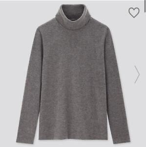 Uniqlo Womens Grey Heattech Fleece Long Sleeved Turtleneck Roll Neck Top Large