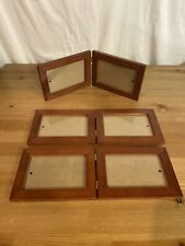 "Lot Of 3 Wood With Metal Hinges Double Photo Picture Frame • 4""x6"" Photos"