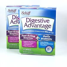 2 Pack Schiff Digestive Advantage Fast Acting Enzymes + Daily Probiotic 01/2021