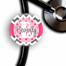 HOT PINK DOTS & CHEVRON PERSONALIZED STETHOSCOPE ID TAG