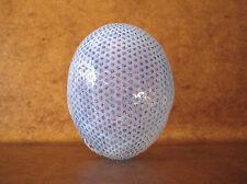 """ART GLASS """"EGG"""" VASE Blue/White HAND-BLOWN Signed/Dated 1985 Scandinavia VTG"""
