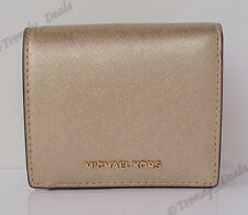 Michael Kors Jet Set Travel Carryall Card Case Mini Wallet Saffiano Pale Gold