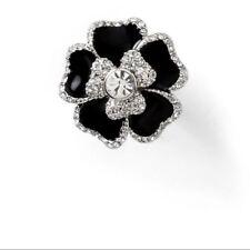 Lia Sophia Blooming Ring Black Dahlia Flower Rhinestone Statement Cocktail Sz 10