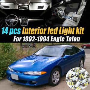 14pc Super White Car Interior LED Light Bulb Kit for 1992-1994 Eagle Talon
