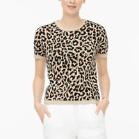 J. Crew Women's Crew Neck Short Sleeve Leopard Sweater Size Medium NWT $59.50.