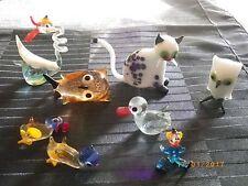 Glasfiguren Mundgeblasen Thüringer Glaskunst DDR 8 Figuren Tiere 70er Jahre Ilme